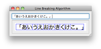 Line Breaking Algorithm