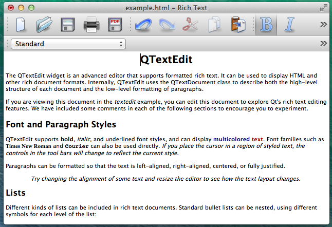 Screenshot of TextEditor example