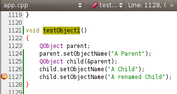 Code using QObject